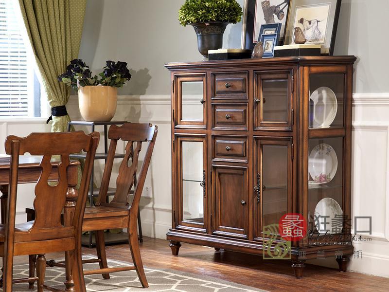 亚兰帝斯家具美式古典餐厅鹅掌楸实木76 K909 边柜