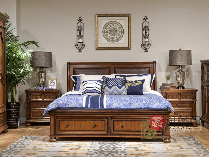亚兰帝斯家具美式古典鹅掌楸实木真皮双人大床W6322/床头柜