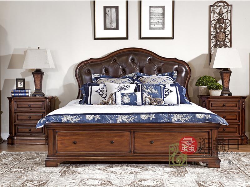亚兰帝斯家具美式古典鹅掌楸实木真皮双人大床W633/床头柜