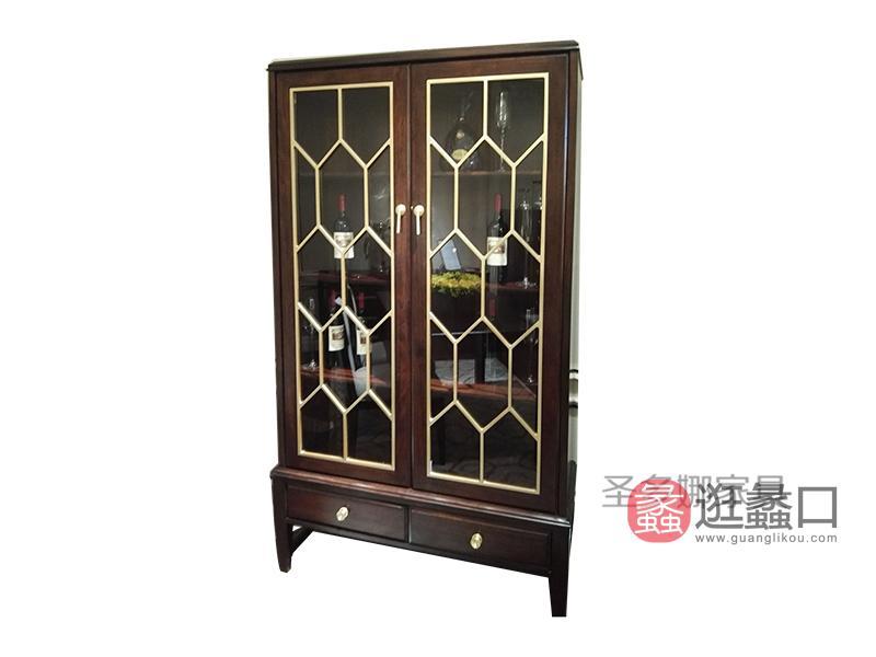 健辉家居·圣多娜轻奢家具美式品质款餐厅桃花芯木实木双门酒柜带抽屉SDN005