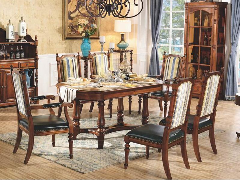美伦卡家具美式餐厅实木长餐台/餐台/餐边柜/高柜/无扶手餐椅
