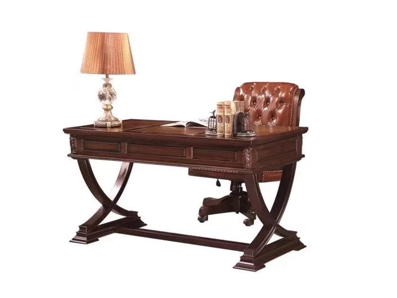 榞野美墅家具 美式独特设计书房金丝木+皮质书桌椅组合