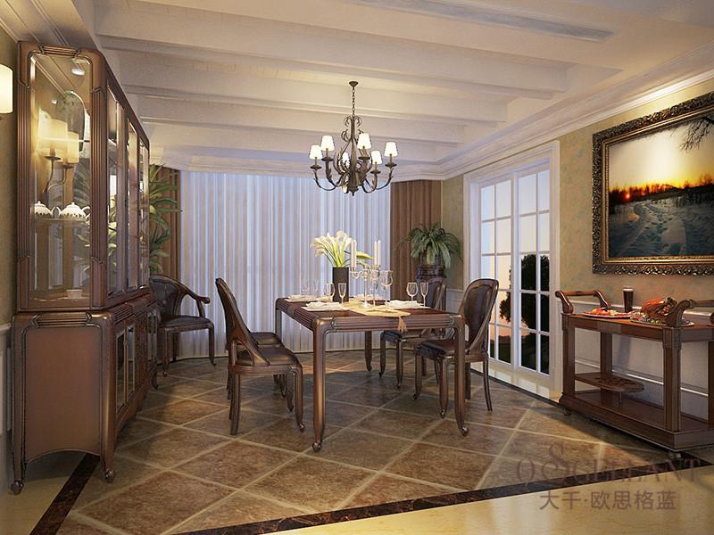 君诺家居·欧思格蓝家具美式新古典餐厅樱桃木实木餐桌椅/酒柜组合