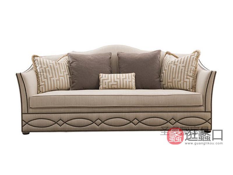 健辉家居·圣多娜轻奢家具品质款美式客厅多人位布艺沙发SDN016