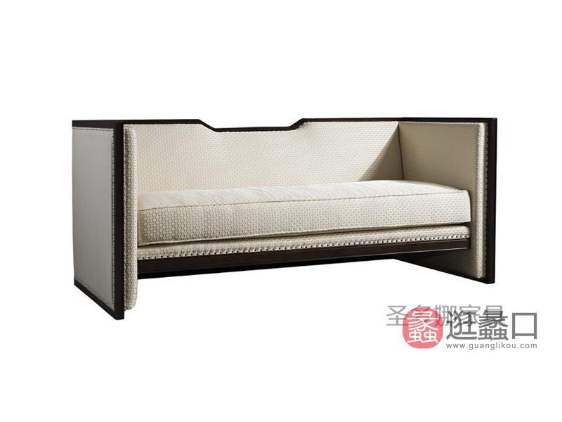 健辉家居·圣多娜轻奢家具美式客厅桃花芯木实木多人位布艺沙发SDN017
