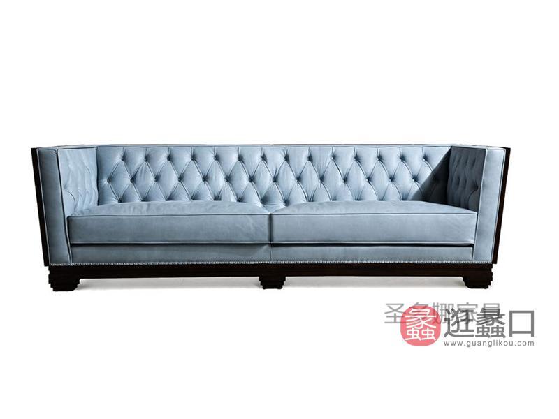 健辉家居·圣多娜轻奢家具客厅新美式桃花芯木实木多人位布艺沙发SDN031