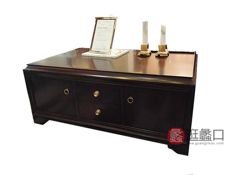 健辉家居·圣多娜轻奢家具经典款美式客厅桃花芯木实木电视柜SDN033