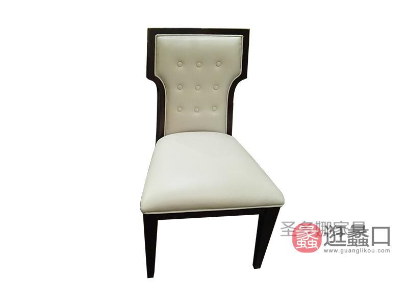 健辉家居·圣多娜轻奢家具美式品质客厅桃花芯木实木浅色餐椅SDN050