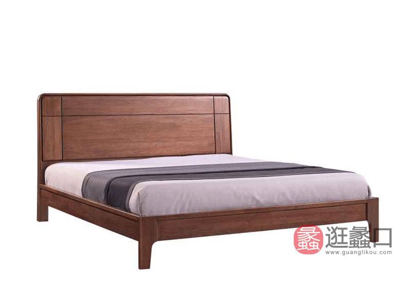 柏森优品LD+实木中式卧室床南美胡桃木床A3708