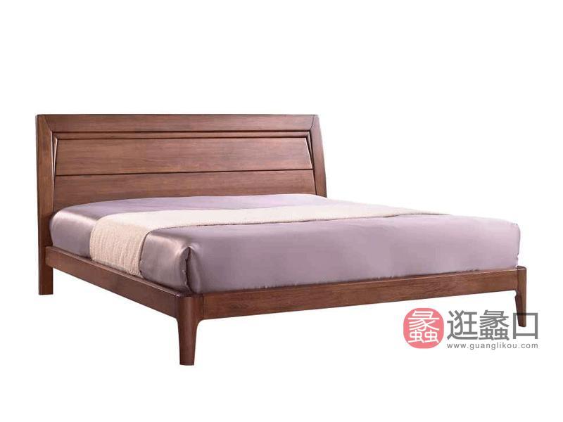 柏森优品LD+现代中式卧室床南美胡桃木床A3707