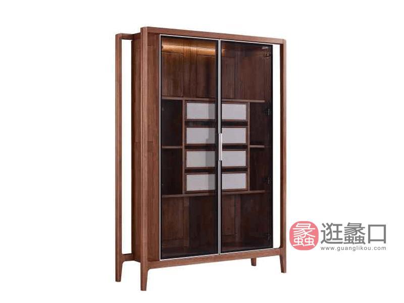 柏森优品LD+实木中式客厅装饰柜/储物柜南美胡桃木柜子r3707