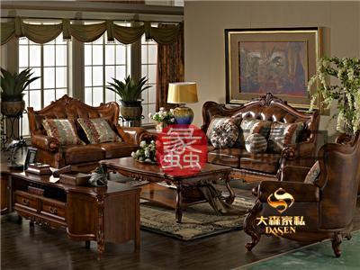 大森家私欧式简欧(小美)宝柏实木真皮双人位/三人位/单人位沙发 实景图Y6010