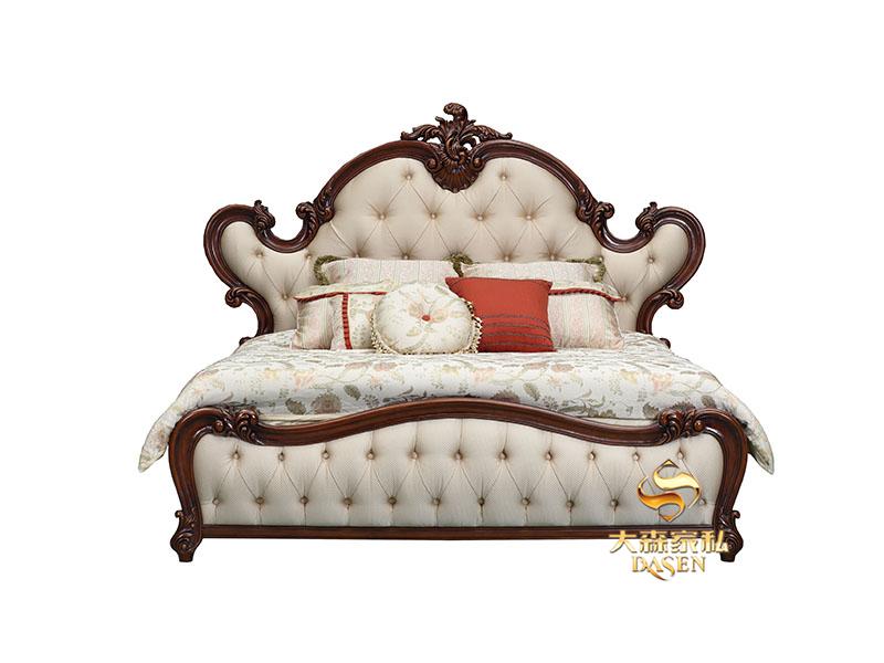 大森家私家具简欧小美奢华卧室红榉木皮艺软靠大床D025-CH 美人靠