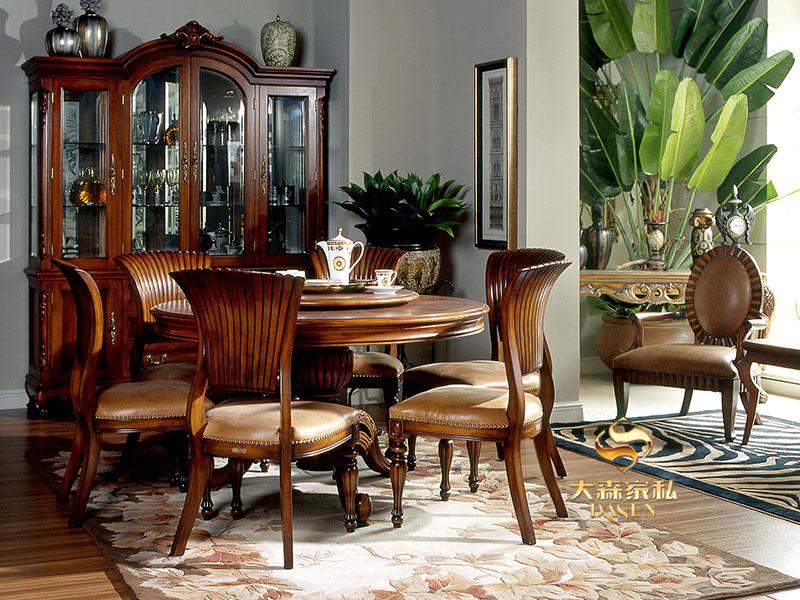 大森家私家具欧式餐厅红榉木实木餐桌椅/四门酒柜/餐椅