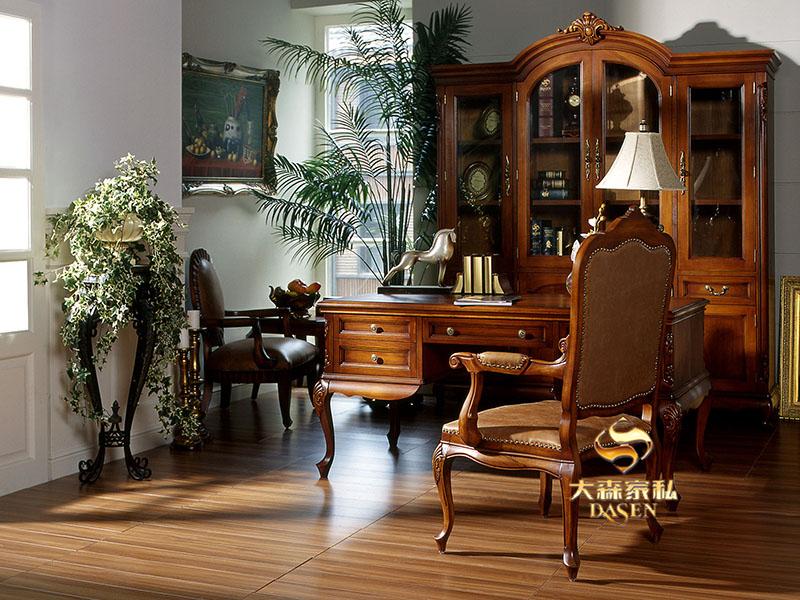 大森家私家具欧式小美书房红榉木实木书桌椅/书柜/书桌椅