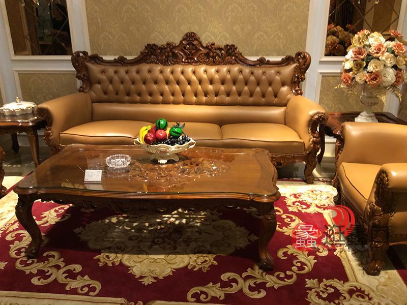 卡洛蔓·润达名家居欧式奢华别墅客厅实木雕花三人位皮沙发/茶几KLM043