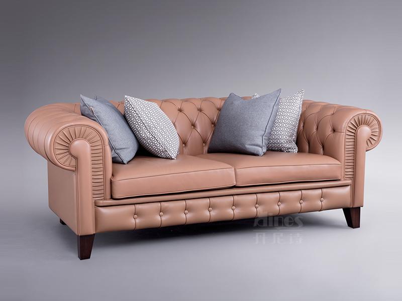 君诺家居·丹尼诗·莱克家具轻奢桃花芯木实木客厅皮艺多人位沙发