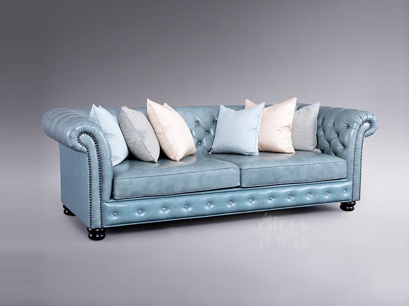 君诺家居·丹尼诗·莱克家具轻奢客厅实木桃花芯木真皮多人位沙发舒适型