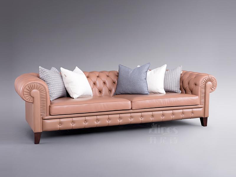 君诺家居·丹尼诗·莱克家具轻奢客厅实木桃花芯木真皮多人位沙发舒适型/真皮沙发皮艺沙发