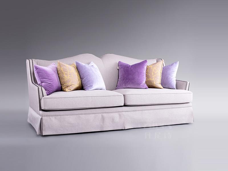 君诺家居·丹尼诗·莱克家具轻奢客厅桃花芯木实木布艺三人位/双人位软体沙发组合