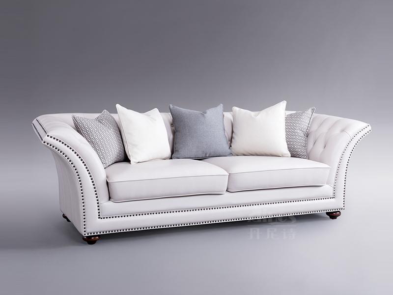 君诺家居·丹尼诗·莱克家具轻奢客厅白色桃花芯木实木三人位/双人位沙发/铆钉
