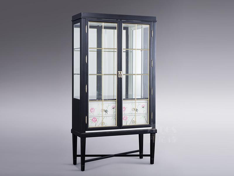 君诺家居·丹尼诗·莱克家具轻奢客厅实木桃花芯木酒柜/展示柜/置物柜/装饰柜