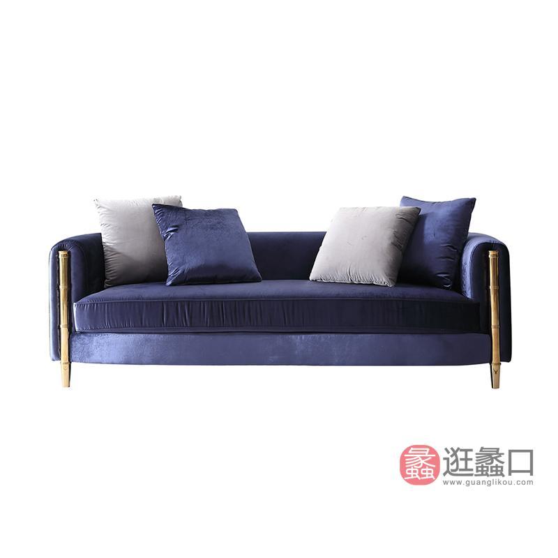 纽约美式轻奢实木沙发纯铜扶手1190179沙发