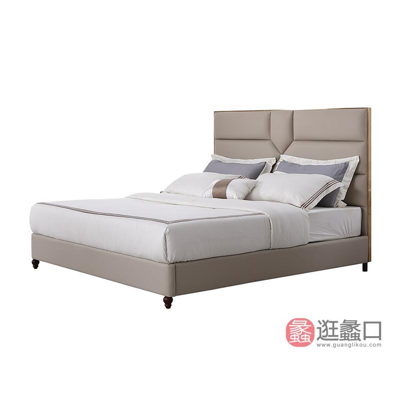 纽约现代美式轻奢超纤面料接触面真皮不锈钢拉丝装饰床1.8米大床1190199床