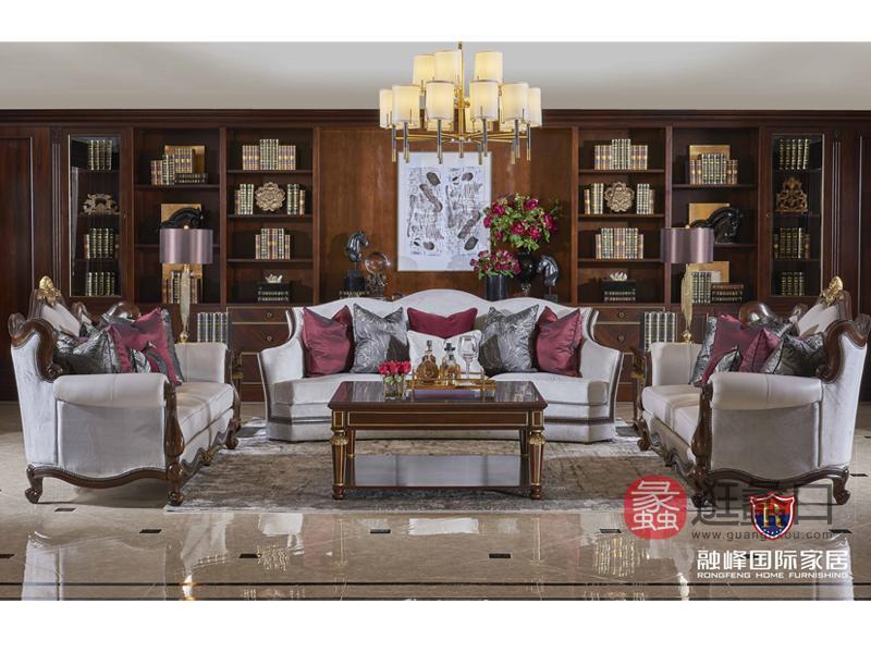 爵典家居·融峰国际家具美式客厅沙发三人沙发/双人沙发/茶几组合GV-109沙发