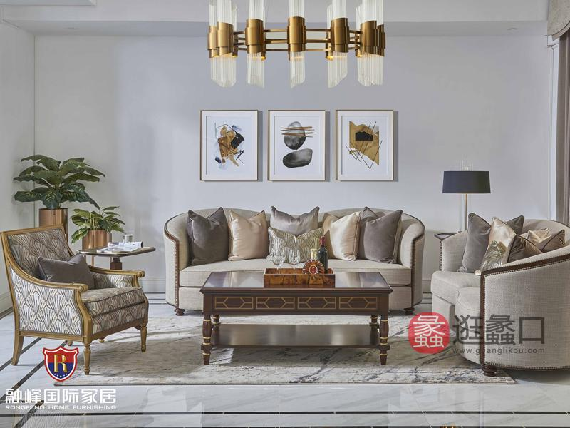 爵典家居·融峰国际家具美式客厅沙发三人沙发/双人沙发单人沙发/茶几组合GV-11沙发