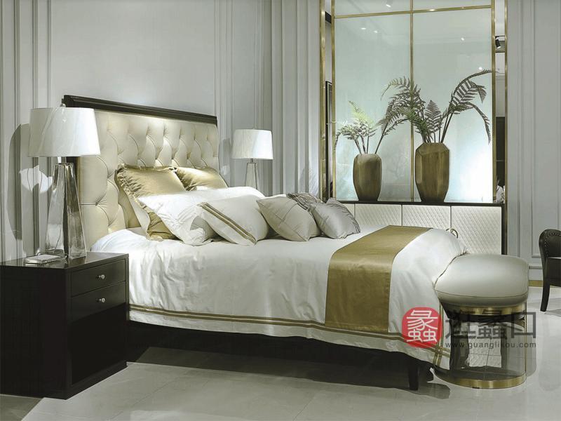 木语森林·LA现代轻奢整体家居轻奢卧室实木软靠双人大床和床头柜加多功能柜MY003