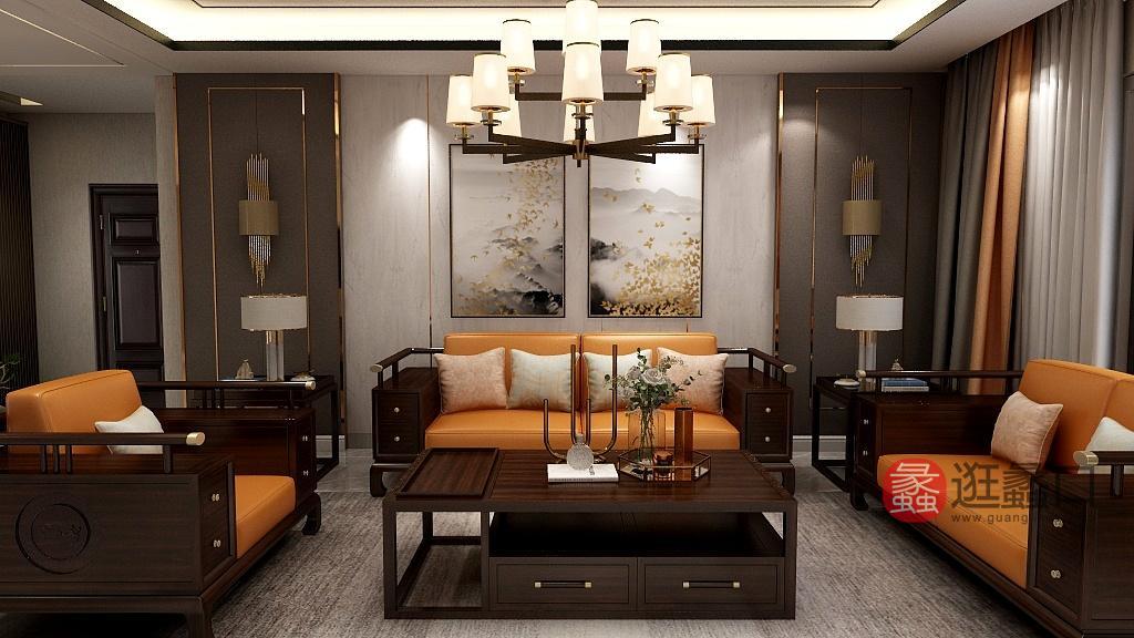 珞川家具新中式客厅实木黑檀木皮艺软包三人位沙发