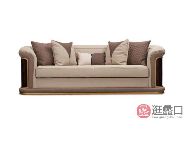 健辉家居·圣多娜轻奢家具轻奢客厅沙发格慕系列时尚实木沙发GM-204三人位沙发