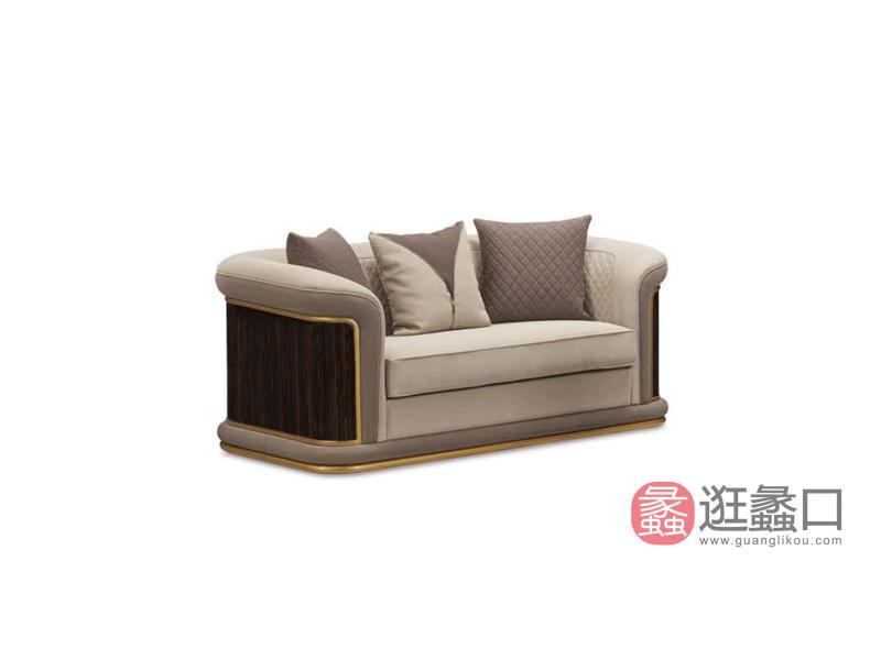 健辉家居·圣多娜轻奢家具轻奢客厅沙发格慕系列时尚实木沙发GM-204双人位沙发