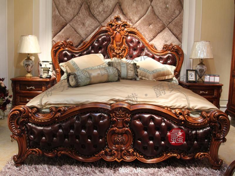 爵典家居·萨芬戴家具欧式卧室榉木真皮软靠雕花大床PZ0189