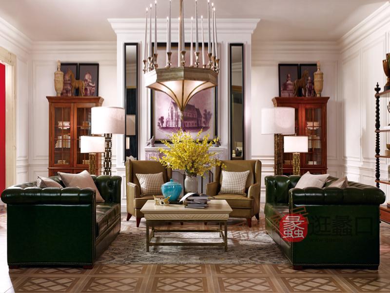 优胜美地家具·爵典家居美式客厅皮艺双人位/三人位/单人位沙发组合/茶几