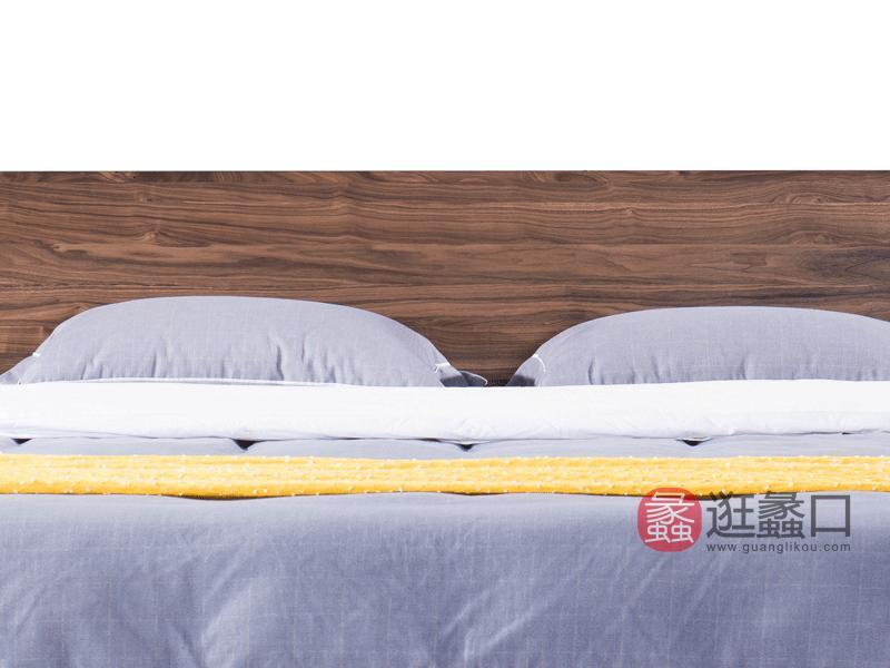 汉斯格尔家具北欧卧室床北美黑胡桃实木床009床