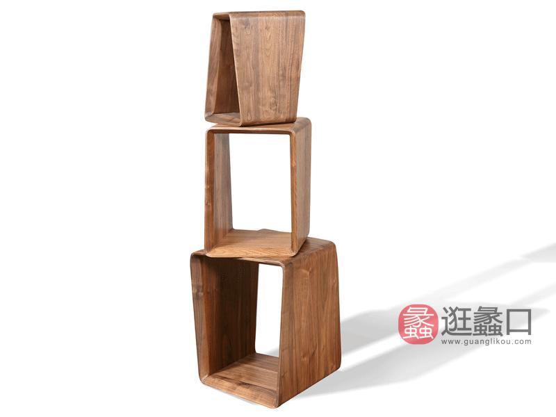 汉斯格尔家具北欧换鞋凳/茶几凳北美黑胡桃实木DS-008小号+DS-009中号+DS-010大号凳子