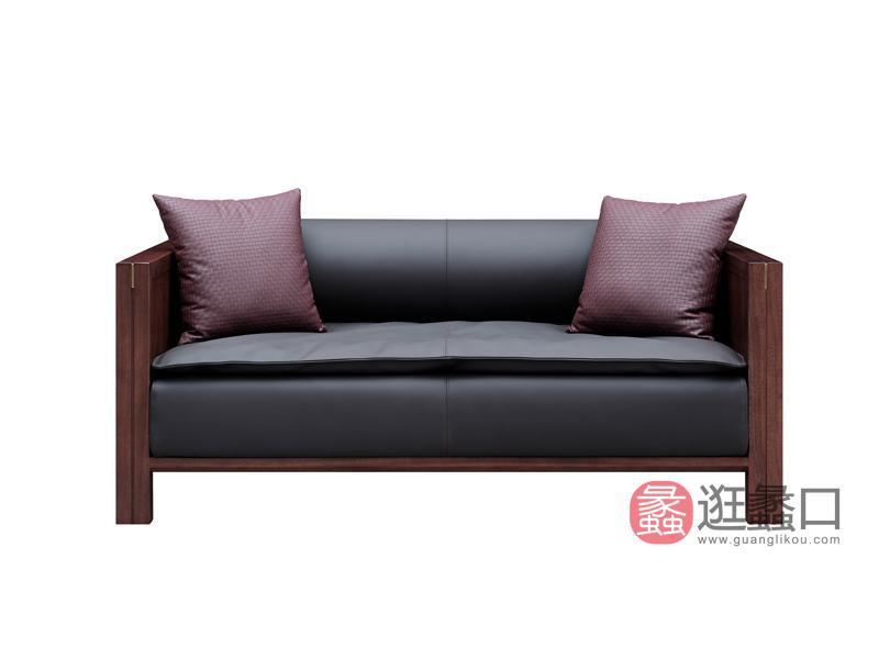 云物·漾木家具工厂直营店新中式客厅沙发乌丝檀木实木沙发头层皮沙发M01-2二人位沙发