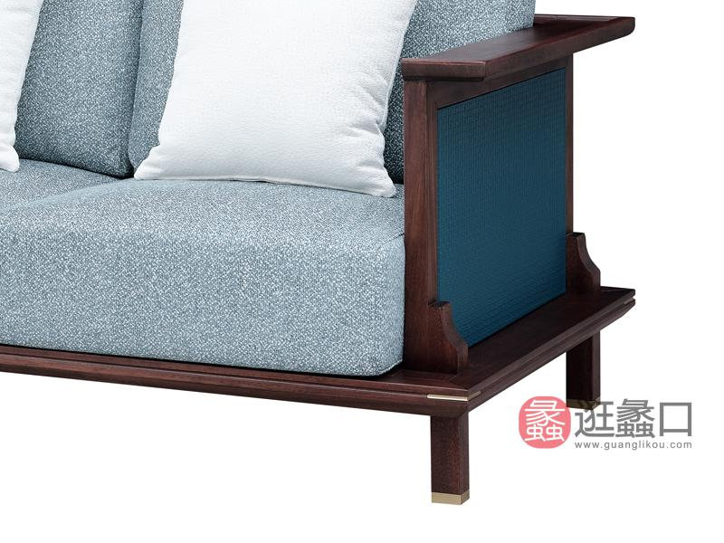 新中式实木沙发M02二人沙发