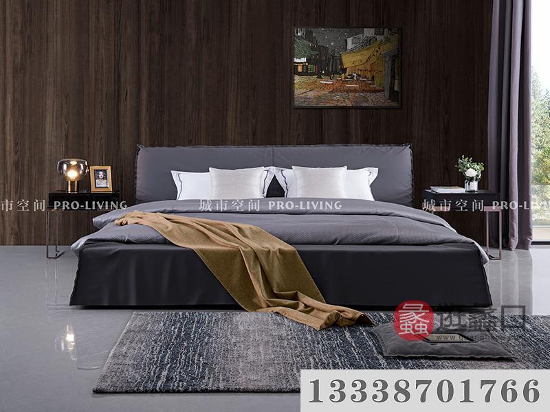 城市空间PRO-LIVING家具轻奢卧室时尚舒适灰色大床
