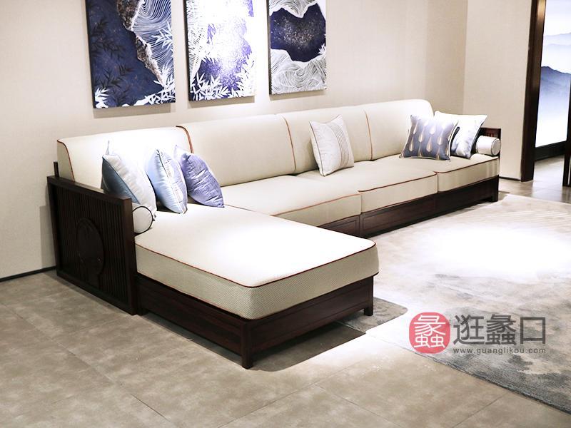珞川家具新中式客厅黑檀木实木布艺转角贵妃沙发组合HT9901 转角沙发