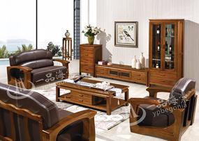 君诺家居·一品海棠家具 现代中式客厅牛皮海棠木实木1+2+3沙发组合/角几/茶几/厅柜品质款810