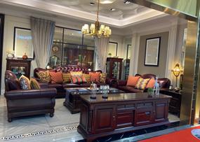 美哈特家具美式客厅沙发实木牛皮沙发茶几组合MHT017