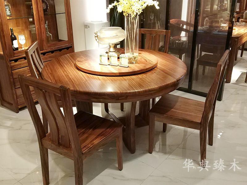 华典臻木·欧尚格家居新中式餐厅乌金木实木带转盘圆形餐桌椅组合