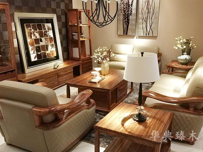 华典臻木·欧尚格家居新中式客厅乌金木实木1+2+3软包沙发组合