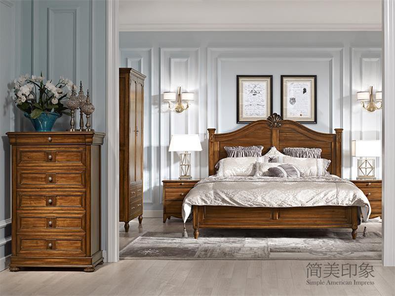 【简美印象·欧尚格家居】美式卧室实木桃花芯木双人床/床头柜/梳妆台/斗柜