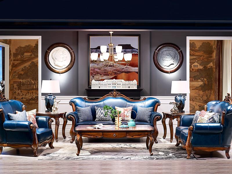 【简美印象·欧尚格家居】美式客厅实木桃花芯木皮艺双人位/三人位/单人位沙发/茶几家用