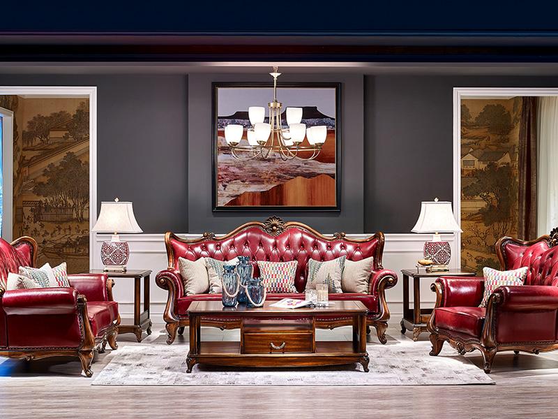 【简美印象·欧尚格家居】美式客厅实木桃花芯木皮艺双人位/三人位/单人位沙发/茶几/角几