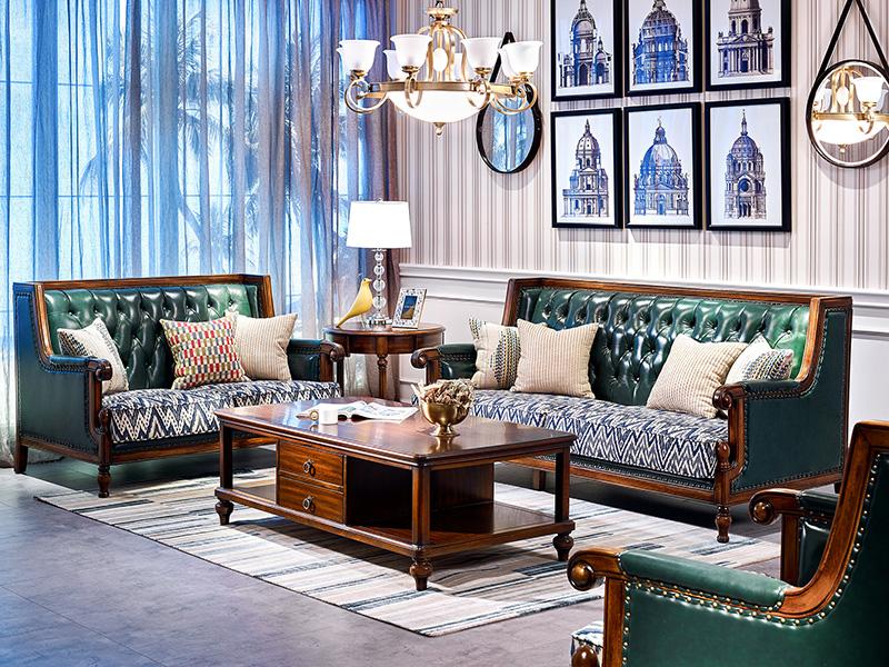 【简美印象·欧尚格家居】美式客厅实木桃花芯木绿色皮艺双人位/三人位沙发/茶几/小圆几